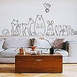 Opprxg Nordic Cartoon Tier Wandaufkleber Bär Fuchs Baby Kinderzimmer Aufkleber Dekoration Tapete 45x120cm