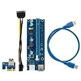 N/U PCI-E 1 x auf 16 x Power, 6 Pin PCI-E, USB 3.0 Port Extender Riser Adapter mit USB-Verlängerungskabel GPU Grafikkarte Krypto Währung Mining (1 Pack)