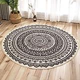 RAILONCH Ethnisch Bedruckte Fußmatten, runder Teppich für das Schlafzimmerstudium (E,120CM)