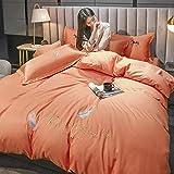 Bedding-LZ BettwäSche Set Baumwolle Weiss,Set Aus Wassergewaschenem Seidebett Vier SäTze Leichter Luxus-Stickerei Red Ice Seide Bettbedarf-P_1,8m Bett (4 StüCk)