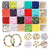 24er Set Perlen Zum Auffädeln, DIY Halsketten Polymeric Clay Armbänder Selber Machen Buchstaben Perlenschmuck Schmuckbasteln, Mädchen Geschenk, Ketten Basteln, 18 Farben