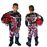 XTRM Kart Anzug Camo Rot Kinder Motorrad Off Road Pit Mini Dirt MTB Fahrrad Riding Kleidung (YM (5-6yrs))