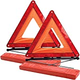 Queta 2er Pack Warndreieck Reflektierend Faltbar Warndreieck mit Aufbewahrungskoffer - EU-Fahrstandard für Autos Entspricht den Europäischen Normen ECE R27 (43 * 39 cm)