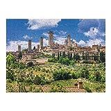 XFVS Holz Puzzle 1000 Puzzle für Erwachsene Stadtbild von San Gimignano, Toskana, Italien Erwachsene und Kinder Teile Jumbo Spiele