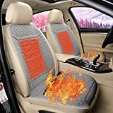 bulrusely Auto Beheiztes Sitzkissen, Universal 12V Sitzheizung, Winter Kurz Plüsch Wärmeisolierung Kissen, für vollen Rücken und Sitz, mit 2 Stufen Heizkissen