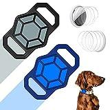 Hülle Halsband für Airtag Hund Halsband, 2er Pack Silikon Schutzhülle Kompatibel mit Air Tag Hundehalsband mit 4er Pack HD Schutzfolie, Personalisierte Hülle für Airtags Halsband Hunde Rucksack