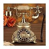 HJHJK Retro Telefon Wählscheibe, Im Sechziger Jahre Vintage Design mit Rotierender Wählscheibe Und Metallklingel für Office Home Decor Wundervolles Geschenk KunsthandwerkCorded Phones