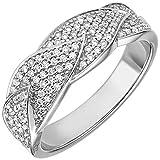 Ring Damenring mit 119 Diamanten Brillanten 0,45 Ct. TW/VSI 585 Gold Weißgold, Ringgröße:Innenumfang 56mm ~ Ø17.8mm