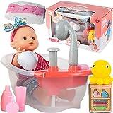 MalPlay Funktionspuppe mit Badewanne | mit funktionierender Dusche, inkl. Baby Badepuppe || Puppe mit Zubehörset ab 2 Jahren