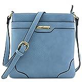 Umhängetasche, mittelgroß, solide, modern, klassisch, vergoldet., Blau (dusty blue), Einheitsgröß