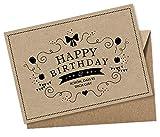 Geburtstagskarte Postkarte: Happy Birthday - Schön, dass es Dich gibt Glückwunschkarte zum Geburtstag SCHWARZ NATUR Original Kraftpapier Beschreibbar mit weißen Marker, Umschag Braun