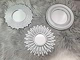 Generisch Wandspiegel Silber 3er Set Spiegel Wanddeko Wandschmuck Wandbild Sonne Modern