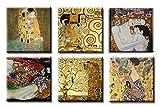 time4art Gustav Klimt Print Canvas 6 Bild 6 x 30x30cm Baum des Lebens Kuss Kiss Tree of Life Frau mit Fächer Mutter und Kind auf Keilrahmen Leinw
