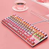 Mechanische Tastatur - verdrahtete Tastatur-Gaming-Tastatur mit dedizierten Multi-Media-Schlüssel for PC-Gamer, PS4, PS5, Laptop, Xbox (Color : Pink)