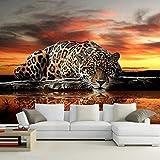 HGFHGD Selbstklebende Fototapete 3D Dreidimensionale Tier Leopard Wandtapete Wohnzimmer Schlafzimmer Sofa Hintergrund Wand Wandaufkleber Wandkunst