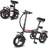 Ebike e-Bike, Leichtes Faltrad, Pedale & PowerAssist- Elektro-Bike, 14 Zoll Reifen Elektro-Fahrrad mit 360W Motor 14AH Abnehmbare Lithium-Batterie, Ebike for Erwachsene