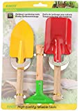 wohnen-freizeit 3 TLG. Gartenset - Schaufel - Rechen - Spaten - aus Holz und Metall - für Kinder und Erwachsene - Gartengeräte , Sandkastenspielzeug, Gartenwerkzeug - stabile Gartengerät
