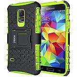 ykooe Galaxy S5 Mini Hülle, (TPU Series) S5 Mini Dual Layer Hybrid Handyhülle Drop Resistance Handys Schutz Hülle mit Ständer für Samsung Galaxy S5 Mini (Grün)