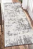SOSTUDIO Teppich Läufer Flur küchenläufer Waschbare rutschfest grau Geometrische Muster, Badteppich Flurläufer Teppich Flur läufer Meterware für Innen Wohnzimmer Küche Schlafzimmer (Grau)