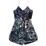 iHENGH Pyjama-Pyjama-Overall mit Halloween-Kürbis-Schädel-Print für Damen(Blau, M)