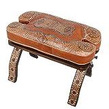 Casa Moro Marokkanischer Kamelhocker Anas Arab 64x35x40 (B/T/H) mit Leder Sitzkissen & klappbaren Zedernholzgestell | orientalischer Kamel Hocker | Kunsthandwerk aus Marrakesch | MO4194