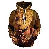 hjbjb 3D-Druck Kapuzenpullover Groot Film Guardians of The Galaxy Kindermode Pullover Langarm Sportswear Jacke-Fg-191-2_XXL