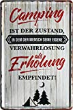 Tin Sign Blechschild 20x30 cm Camping als Erholung Urlaub Ferien zelten Wohnwagen Reise Deko Schild Bar Kneip