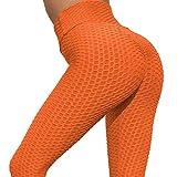 ZXD Damen Yoga Leggings Hohe Taille Weiche Legging Stretchy Hosen Yoga Wabenbauch Control Workout Gym Yoga,Orange,XL