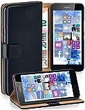 moex Klapphülle kompatibel mit Nokia Lumia 630/635 Hülle klappbar, Handyhülle mit Kartenfach, 360 Grad Flip Case, Vegan Leder Handytasche, Schwarz