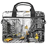 LORVIES Street View of New York American City Laptoptasche Schultertasche Messenger Bag Business Sleeve Tragegriff Tasche für 14 bis 15,4 Zoll Laptop Notebook