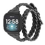Glebo Kompatibel mit Fitbit Versa 3 Armband/Fitbit Sense Armband für Damen und Mädchen,Slim Double Tour Gewebte Leder Uhrenarmband Ersatzband Kompatibel für Fitbit Versa 3/Sense Smartwatch,Schw