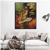 Wandbild Sage Goddess Print Heidnische Mythologie Psychedelic Bohemian Gypsy Witch Goddess Kunstdruck und Poster Leinwandbild Picture-60X80Cmx1 No Frame