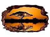 3D Wandtattoo Baum Afrika Savanne Sonnenuntergang Wandbild selbstklebend Wandmotiv Wohnzimmer Wand Aufkleber 11E681, Wandbild Größe E:ca. 168cmx98