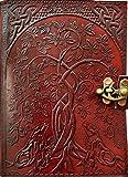 Urban Leather Book of Shadows Magic Spells, Heulendes Paar Wolf & The Tree of Life geprägtes Leder-Tagebuch für Männer und Frauen, Skizzenbuch, Scrapbook Zeichnen, Vintage, Schreibbuch, unliniert