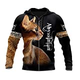 3D-Druck Tier Abessinian Katze Tattoo Hoodie Mann Harajuku Outwear Zipper Pullover Sweatshirt Casual Unisex Gr. XXXXL, Kapuzenpullover mit 3D-Reißverschluss