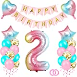 Luftballon 2. Geburtstag Rosegold, Happy Birthday Banner Folienballon, Geburtstagsdeko Mädchen 2 Jahr, Einzigartigen Folienballon Zahl 2, Deko 2 Geburtstag Mädchen, Ballon 2 Deko für Tochter (2)