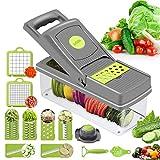 Preciser Gemüseschneider, Lebensmittelzerkleinerer und Würfeler, 12-in-1 Gemüsehobel, Zerkleinerer und Reibe Zwiebelschneider Käsehobel