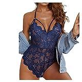 Alinwer Damen Body Lingerie Strap Crochet Teddy Dessous Stickerei Bandage Unterwäsche Einteilige Strapse Reizwäsche Set
