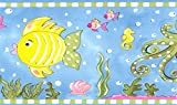 Dundee Deco BD6275 Tapeten Bordüre, vorgeklebt, Kinder-Bordüre, Rosa, Grün, Kobaltblau, Fisch, Seepferdchen, Quallen, Oktopus, Wand-Bordüre, Tapetenbordüre Retro-Design, 4,57 m x 15,24 cm