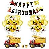 BAU Geburtstag Party Dekorationen, Bagger Geburtstag Deko, Baustelle Geburtstag Deko Set, Baustelle Luftballons, Baufahrzeug Feuer Auto Folienballons, Bagger deko Kindergeburtstag