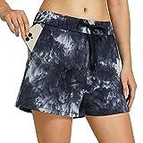 Willit Damen Yoga Lounge Shorts Wandern Active Running Workout Shorts Bequeme Reise Casual Shorts mit Taschen 6,3 cm, Damen, Batik-Graphitgrau, XX-Large