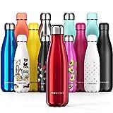 Proworks Edelstahl Trinkflasche | 24 Std. Kalt und 12 Std. Heiß - Premium Vakuum Wasserflasche - Perfekte Isolierflasche für Sport, Laufen, Fahrrad, Yoga, Wandern und Camping - 750ml - Rot