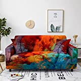 Strecken Sofabezug 1/2/3/4 Sitzer Sofaüberwurf Braune, Blaue Graffiti Antirutsch Couchbezug für Hunde Haustier Couchbezug Möbelschutz mit Elastischen Boden 3 Sitzer: 190-230 cm