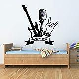 NSRJDSYT Rock n Roll Vinyl Wandtattoo Musik Musikalischer Musiker Aufkleber Kunst Wandbild Wanddekoration E-Gitarre Muster Aufkleber 86x93cm