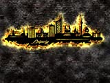 LED Wandbild Skyline aus Holz Stadt Leipzig , tolle Geschenkidee ! Panorama Leinwandbild Holzbild Stadt Leuchtbild Souvenier Idee Geschenk 30. 40. 50. 60. 70. 80. Geburtstag Mann Frau Kind