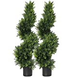 momoplant Künstliche Formschnitt-Zypresse, Buchsbaum, Buchsbaum, Formschnitt, Kunstformschnitt, Spirale, Zypressenbäume, Kunstformschnitt, Buchsbaum, 2 Stück