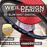 UV Filter 77mm weildesign Slim XMC Digital Weil Design Germany * Objektivschutz * blockt ultraviolettes UV Licht * Frontgewinde * 16 Fach vergütet * inkl. Filter Box (UV Slim Filter 77mm)