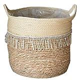 Woven Korb Seegras Korb Handgemachte Pflanze Blume Woven-speicher-korb Mit Handgriff Für Lagerung Wäscherei Pflanze Style5 Woven Blumentopf