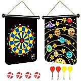 olyee Magnetisches Dartscheiben-Set mit doppelseitigem Dartspiel, Themen-Dartscheibe mit 4 Dartpfeilen und 4 klebrigen Bällen, für drinnen und draußen, Wurfspiele für Kinder (Planeten)