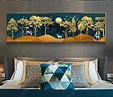 Wallpaper M Moderne minimalistische Landschaft Landschaft reiche Bäume Nordische dekorative Malerei Breite 130 X Höhe 40 cm